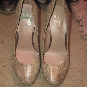 Mix No 6 Gold Sparkle Heels